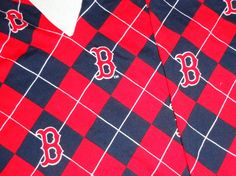 Boston Red Sox cotton fabric red background argyle design material scrap 2 pieces. http://www.etsy.com/listing/129253724/boston-red-sox-cotton-fabric-red?