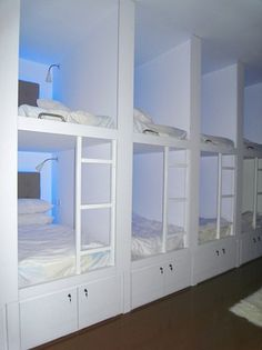 Hostel bunk cubbies – for guest room or kids room, perfect for sleep overs or . Hostel bunk cubbies – for guest room or kids room, perfect for sleep overs or alternative to bunk beds – Bunk Bed Rooms, Bunk Beds With Stairs, Cool Bunk Beds, Kids Bunk Beds, Kids Bedroom, Bedroom Decor, Master Bedrooms, Travel Bedroom, Bedroom Ideas