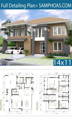 Free 4 Bedroom House Plans New 4 Bedrooms Home Design Plan Size Free House Design, Duplex House Design, Small House Design, Modern House Design, The Plan, How To Plan, 4 Bedroom House Plans, Duplex House Plans, Small Modern House Plans