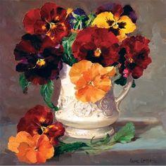Анютины глазки а сливочник - пустая карточка исполнителя Anne Cotterill цветок искусства