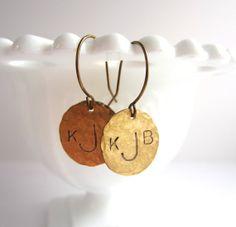 Custom Monogram Earrings Hand Hammered Brass Dangle by kbjhandmade, $28.00