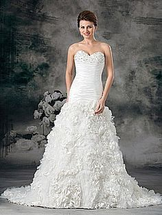 Sweetheart Taffeta Mermaid Gown with Rhinestoned Embroidery and Rosette - USD $303.49