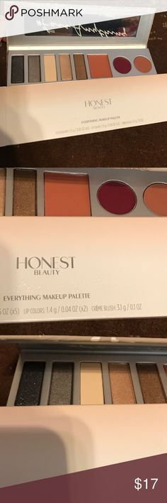 "Honest beauty ""everything make up palette"". BNWT. Still comes in original box. Beautiful make up that is good for you. No more feeling guilty if we forget to remove our make up at night. Stays put too. Includes: eyeshadow colors: charcoal shimmer, pewter shimmer, everyday canvas, champagne shimmer, bronze shimmer and truly thrilling creme blush, mulberry bliss lip color and honey kiss lip color. I'm a long compact with mirror: 8"" x 2.25"". You'll love taking this with you everywhere. And it's…"