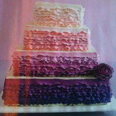 Purple ruffle fondant cake