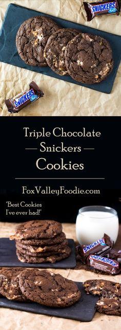 Triple Chocolate Snickers Cookies Recipe