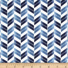 French Navy Broken Chevron Navy/Blue from @fabricdotcom  Designed by Studio 8 for Quilting Treasures, this cotton print fabric is perfect for quilting, apparel and home decor accents. Colors include blue and white.