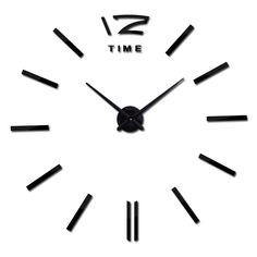 2017 new real clock watch wall clocks horloge 3d acrylic Home Decorati mirror stickers  living room needle europe
