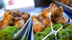 Family Style Platters of Buttermilk Fried Chicken featured on PureJoyCatering.com