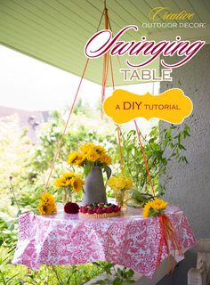 Creative Outdoor Decor: DIY Swing Table // Hostess with the Mostess®.  How to make the table and the food on the hanging table!