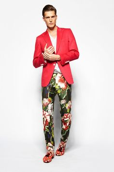 Shop this look for $107:  http://lookastic.com/men/looks/white-v-neck-t-shirt-and-dark-green-dress-pants-and-red-tassel-loafers-and-red-blazer/2984  — White V-neck T-shirt  — Dark Green Floral Dress Pants  — Red Print Suede Tassel Loafers  — Red Blazer