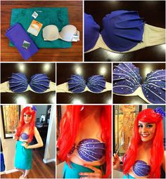 DIY Disney-Inspired Costumes for Halloween! Little Mermaid Costumes, Ariel Costumes, Little Mermaid Parties, The Little Mermaid, Cosplay Costumes, Halloween Photos, Halloween Kostüm, Halloween Costumes, Easy Costumes