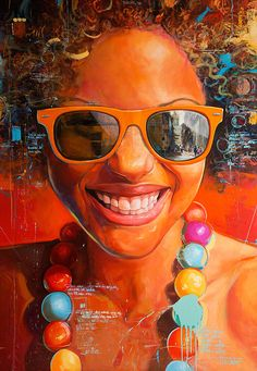 """Estilos"" - Yunior Hurtado (Cuban, b. 1977), oil on canvas {figurative art beautiful female head sunglasses smiling woman face painting #loveart #2good2btrue} yuniorhurtado.net"