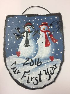 1 Pittsburgh Steelers Football Snowman Hand Painted Slate