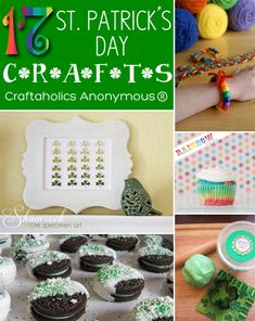 """St. Patrick's Day crafts- I love the idea of rainbow cupcakes for St. Patrick's Day with a shamrock on top or a chocolate """"gold"""" coin"""