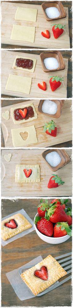 Strawberry Nutella Poptarts   Maybe somebody (Matt) should do this for somebody who really likes Nutella (mikayla) for valentines day