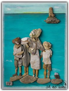 Diy little people frame i must make Stone Crafts, Rock Crafts, Beach Rock Art, Pebble Art Family, Pebble Pictures, Decoration Originale, Sea Glass Art, Shell Art, Driftwood Art
