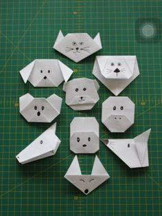 Caras de animales de Papiroflexia