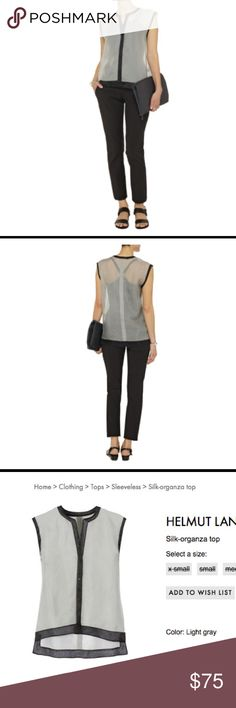 """🔸HOLD🔸Helmut Lang NWT Silk Gray/Black Top Sz S Helmut Lang NWT Silk Organza Sleeveless Sheer Top Gray / Black Trim Sz S, 100% Silk, Dry Clean Only, retail price I think around $300, I bought it on sale for $118 about 2 years ago and has been sitting in plastic in my closet, armpit to armpit about 18"""", 🔸on ♏️erc for $50 same user name🔸 Helmut Lang Tops"""