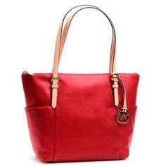 Michael Kors Jet Set - czerwona skórzana - SALE! Michael Kors Jet Set, Tote Bag, Bags, Fashion, Handbags, Moda, Fashion Styles, Totes, Fashion Illustrations