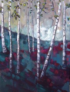 jillvansickle.com  birch tree painting, fine art, painting, home decor, artwork