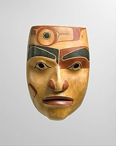 Portrait mask by Robert Davidson, ca.1977-78. Wood and pigment. Haida, BC, Canada | The Metropolitan Museum of Art