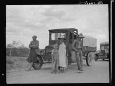 Oklahoma drought refugees stalled on highway near Lordsburg, New Mexico. 1937 May. Library of Congress.