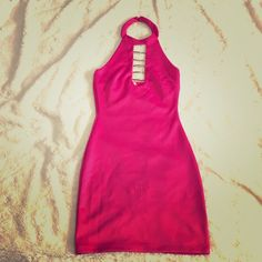 "hot pink dress junior size small .  never worn .  fit too small for me .  FYI , I'm 5'2"" , 120 lbs , 34 DD Dresses Mini"