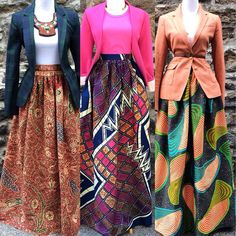 wax cloth print with vintage jacket. i particularly like the combo on the right. I must have one of these skirts!