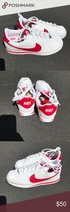 27d0cdf144e Nike Cortez Nike Cortez white and gym red. boys grade school size or women s  NIB! This colorway is no longer available.