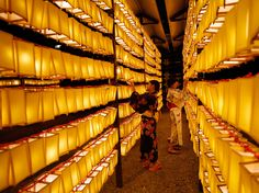 Mitama Festival, Tokyo | Photograph by Toru Hanai, September 22, 2013, Reuters | Thousands of paper lanterns light up the evening at the Yasukuni Shrine in Tokyo during the Mitama Matsuri. The midsummer celebration honors ancestral spirits.