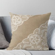 Super soft and durable spun polyester Throw pillow with double-sided print. Cover and filled options. Lovely white lace overlaying a natural burlap background. Perfect for the ladies who love rustic, country designs. Bow Pillows, Burlap Pillows, Throw Cushions, Decorative Throw Pillows, Recover Pillows, Sewing Pillows, Pillow Embroidery, Embroidery Ideas, Burlap Background