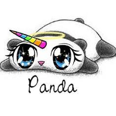 cute, drawings, panda, rainbow, sweet, unicorn, ❤️, panda corn