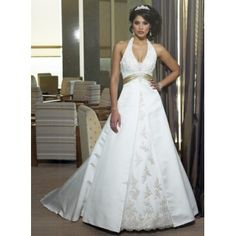 White Lace Long Halter Wedding Dresses with Champagne Sash