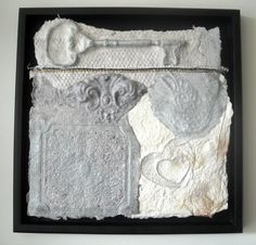 This framed shabby chic collage entitled Remnants One started its life as paper pulp upcycled from other paper. It is face-mounted in a matt