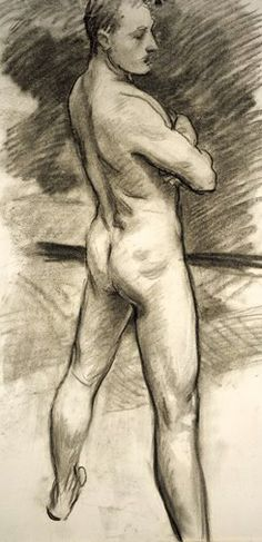 John Singer Sargent (American-British painter, Male Nude Seen from Behind (ca. John Singer Sargent, Guy Drawing, Life Drawing, Person Drawing, Watercolor Drawing, Painting & Drawing, Art Dégénéré, Harvard Art Museum, Internet Art