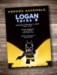 Custom Lego Batman Movie 2017 Birthday Invitation Super heroes