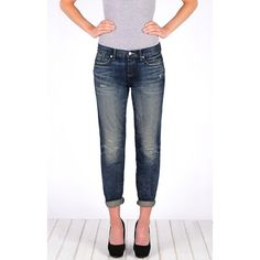 Henry & Belle Relaxed Skinny ($216) ❤ liked on Polyvore featuring jeans, boyfriend, ryan, skinny leg jeans, straight-leg jeans, drop crotch skinny jeans, boyfriend jeans and skinny fit jeans