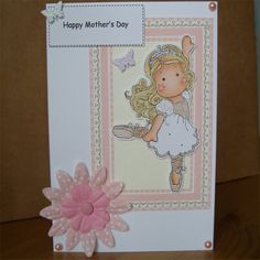 Mother's Day Card- Magnolia Tilda with Gift Box by Aunty Joan Crafts