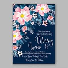 Pink Flowers Wedding Invitation Cards | Free Eps Download | PNG & Vector