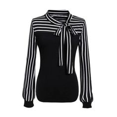 SheIn(sheinside) Black White Tie-neck Striped Blouse (220 ARS) ❤ liked on Polyvore featuring tops, blouses, shirts, long sleeves, multi color, long sleeve collared shirts, long sleeve blouse, white and black striped shirt, neck ties and striped shirt