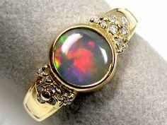 GEM FIRE CRYSTAL OPAL 18K GOLD RING SIZE 6 SCO1209  black opal ring, opal  18 k gold  ring, gem opal  ring, fire opal ring