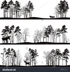 Set Of Different Landscapes With Pine Trees And Wild Animals, Forest Silhouettes…