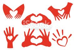 Vector illustration of hand heart sets Royalty Free Stock Vector Art Illustration