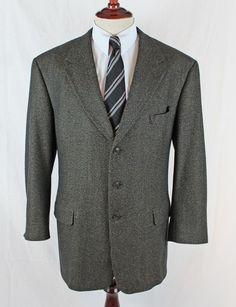 8aed24f86 HART SCHAFFNER MARX Blazer Sport Coat 46 L Deutsch Bros 3 Button Ventless  Wool #HartSchaffnerMarx
