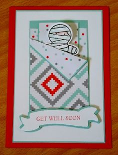 Cookie Cutter Halloween Stampin' Up! Get Well Soon cardmaking ideas, mummy in bed by Kathryn Ruddick - Melbourne.