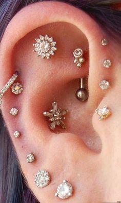 multiple ear piercing combinations ideas for cartilage rook daith triple forward. - multiple ear piercing combinations ideas for cartilage rook daith triple forward helix conch studs - Innenohr Piercing, Cool Ear Piercings, Ear Peircings, Multiple Ear Piercings, Cartilage Piercings, Tongue Piercings, Chest Piercing, Rook Piercing Jewelry, Ear Jewelry