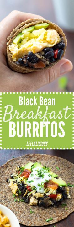 This Healthy Black Bean Breakfast Burrito Recipe features a hearty bean & hash brown filling with scrambled eggs, cheese, avocado and salsa rolled into whole wheat tortillas. This is a great healthy breakfast idea that can also be made ahead. Substitute plain Greek yogurt for the sour cream to keep this recipe clean eating friendly. Pin now to make later!