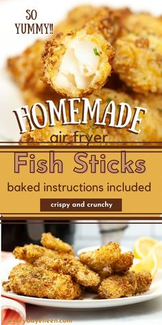Homemade Air Fryer Fish Sticks, with a crispy crunchy Old Bay Seasoned Panko crust with tender fresh fish. So much better than any store bought box. Serve with your favorite tartar or cocktail sauce. Make a big batch and freeze some for later. Oven Baked Fish Stick Instructions included. #airfryerfishsticks #fishsticks #airfryerfish #everydayeileen