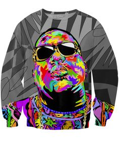 Wear your rap love wherever you go with this fully sublimated Biggie Shades Sweatshirt! This all-over-print jumperfeatures Biggie Smalls, one of the most influ