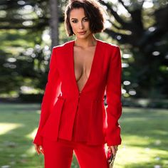 All Buttoned Up Red Long Sleeve V Neck Flare Blazer Jacket Wide Leg Loose Flare Pants Two Piece Jumpsuit Set - Sold Out Blazer Jacket, Sexy Outfits, Cool Outfits, Long Plaid Skirt, Red Flare, Two Piece Jumpsuit, Classy Girl, Red Suit, Rouge